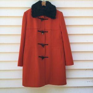 Banana Republic Coat Wool Detachable Fur Collar L